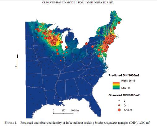 Researchers created detailed maps showing the spread of the tick responsible for the spread of Lyme disease.