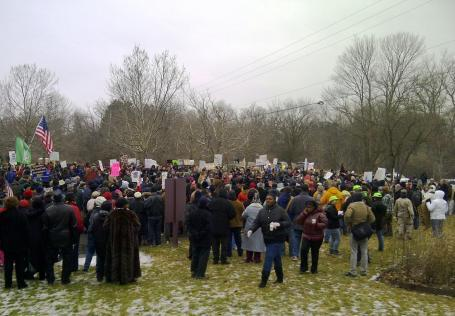A protest against PA 4 at Governor Snyder's residence in January