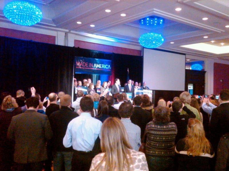 Rick Santorum speaks to his campaign gathering in Grand Rapids.