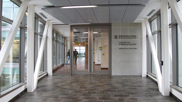 A view of the recently constructed Secchia Center, MSU's headquarters for the College of Human Medicine in Grand Rapids