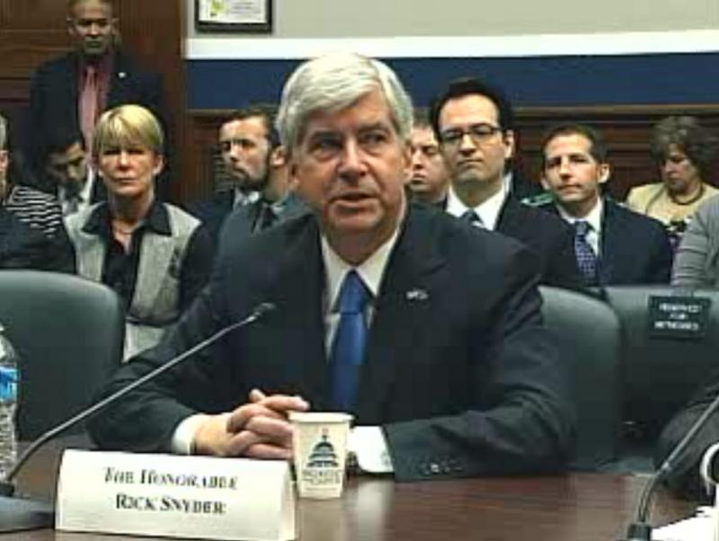 Michigan Governor Rick Snyder testifying before the U.S. House Committee on Education and the Workforce on job creation.
