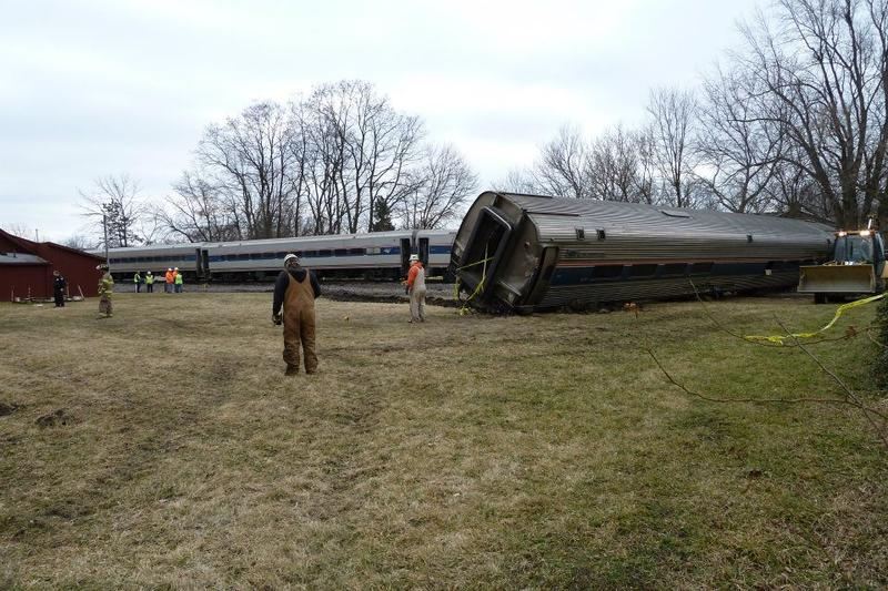 An Amtrak train collided with a semi-truck near Jackson, Michigan