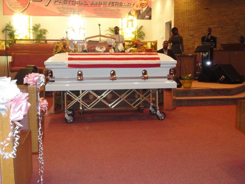 A coffin representing democracy at the Galilee Baptist Church in Detroit.