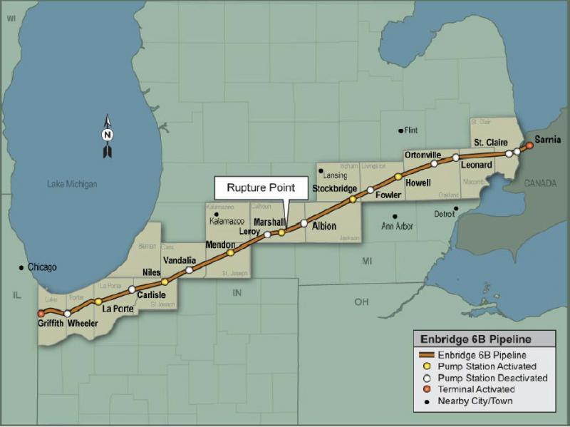 The rupture point of Enbridge's 6B oil pipeline.
