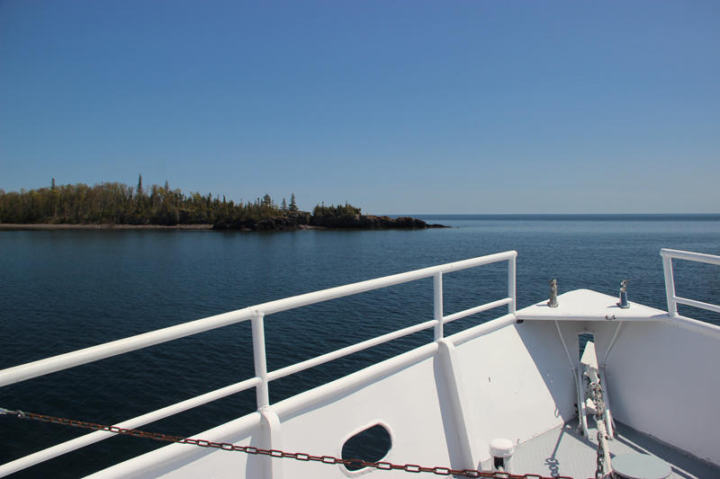 Isle Royale from the bow of the Isle Royale Queen IV.