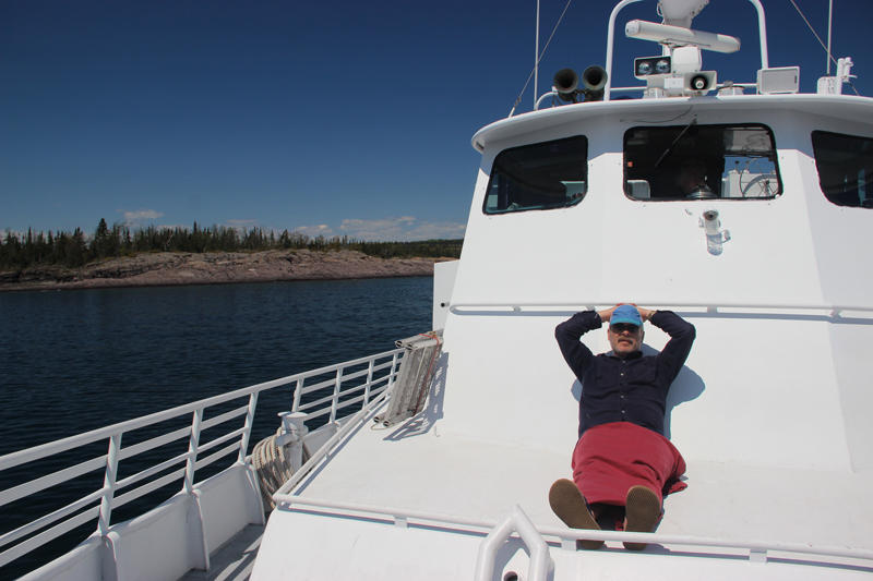 Relaxing on the deck of the Isle Royale Queen IV