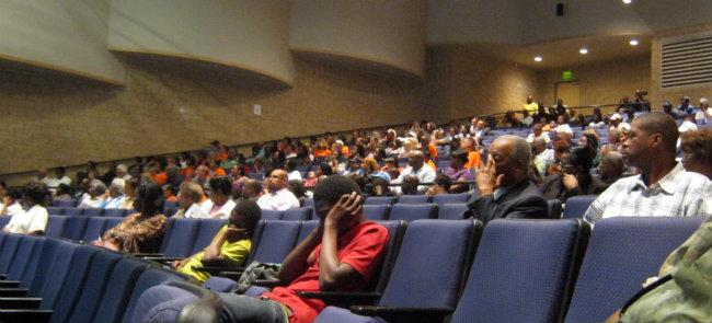 Around 300 people attended the town hall meeting Wednesday night at Muskegon Heights High School.
