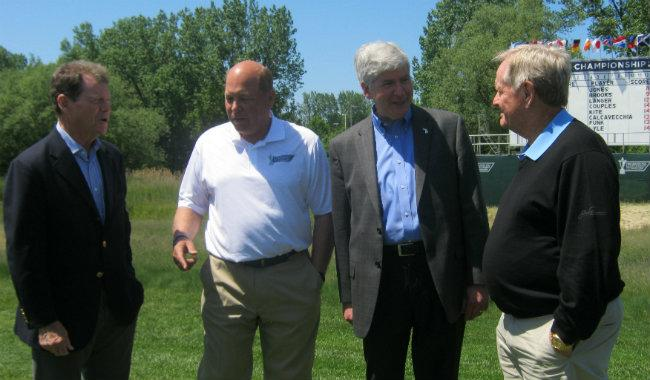 Left to right Reigning Senior PGA Champion Tom Watson, Whirlpool CEO Jeff Fettig, Michigan Governor Rick Snyder, and Jack Nicklaus.
