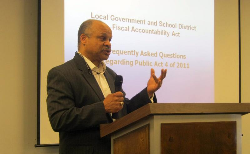Benton Harbor Emergency Manager Joe Harris at a town hall meeting last summer.