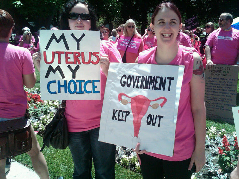 Protestors in favor of pro-choice.