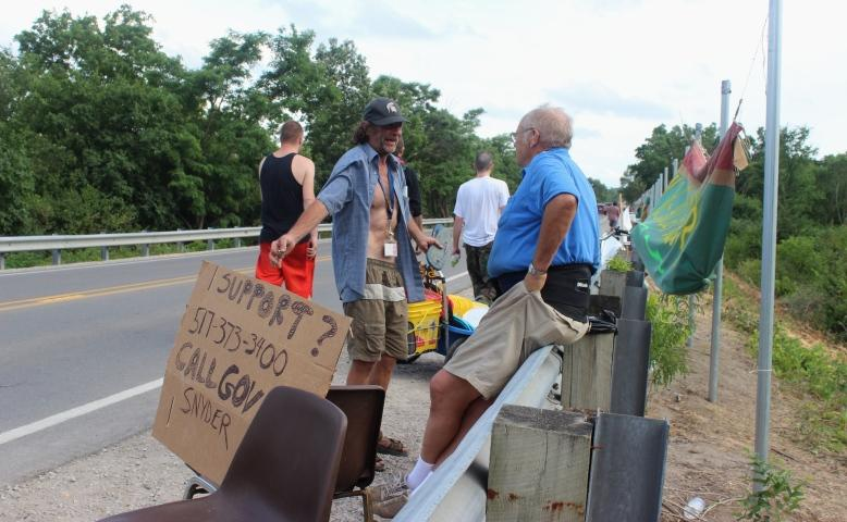 Supporters of the camp were urging folks to call Governor Snyder and other elected officials to stop the eviction.