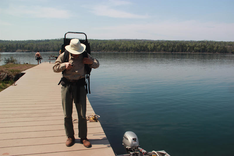 Rolf Peterson on Caribou Island, one of more than 450 smaller islands in the national park's archipelago.