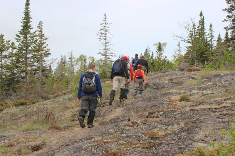 The trail on Isle Royale traverses a lot of rocky terrain.