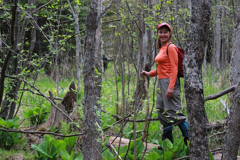 Susie Morrison searching for moose bones