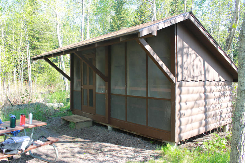 Camping shelter on Isle Royale