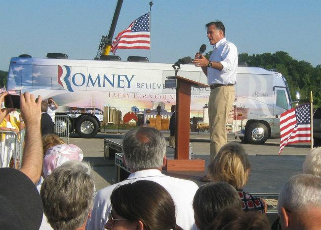 Mitt Romney at Holland State Park Tuesday evening.