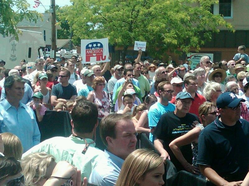 The crowd gathered to hear Mitt Romney