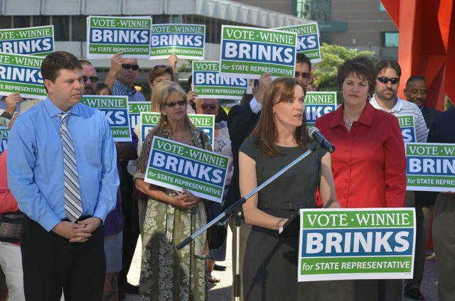 State Representative Winnie Brinks at a June press conference announcing she'll run.