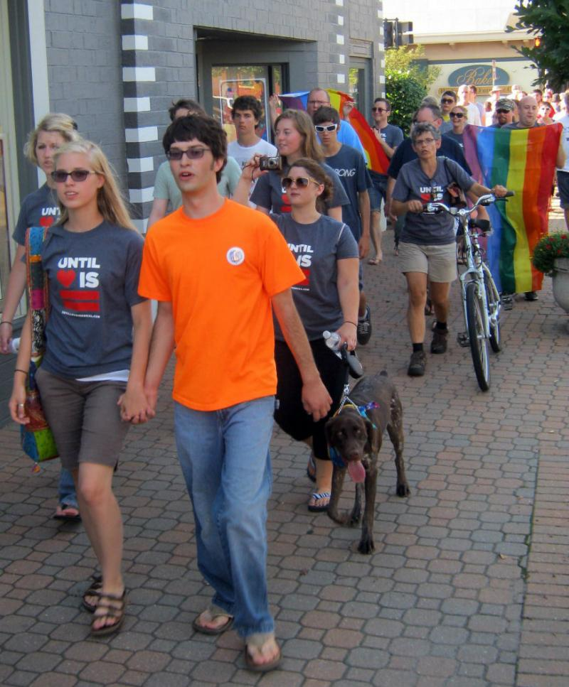 "Young people march ""until love is equal"" in Holland last August. The march was in protest the city council's vote in June 2011 not to add gender identity and sexual orientation to the city's anti-discrimination laws."