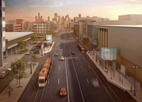 An artist's rendering of the proposed M-1 light rail project.