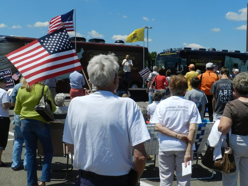 About a hundred Tea Party supporters turned out for an afternoon rally in Kalamazoo