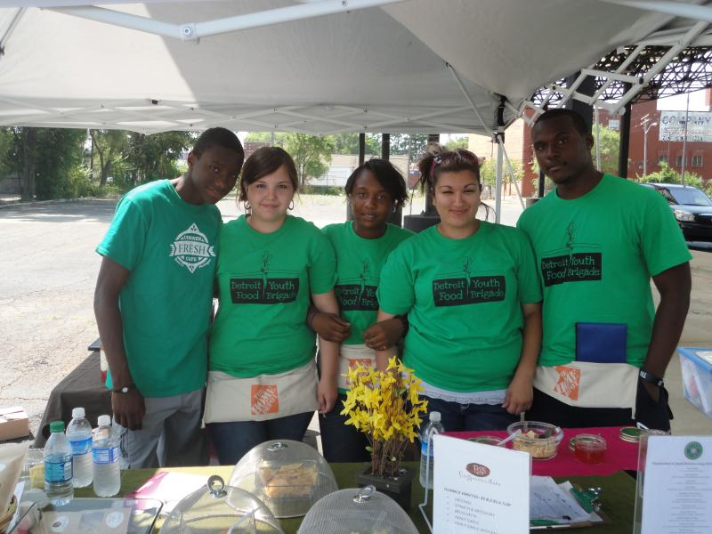 Members of the Detroit Youth Food Brigade at the Windmill Market in Northwest Detroit.