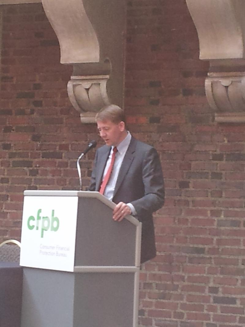 Richard Cordray addresses a Consumer Financial Protection Bureau field hearing at the Detroit Institute of Arts.