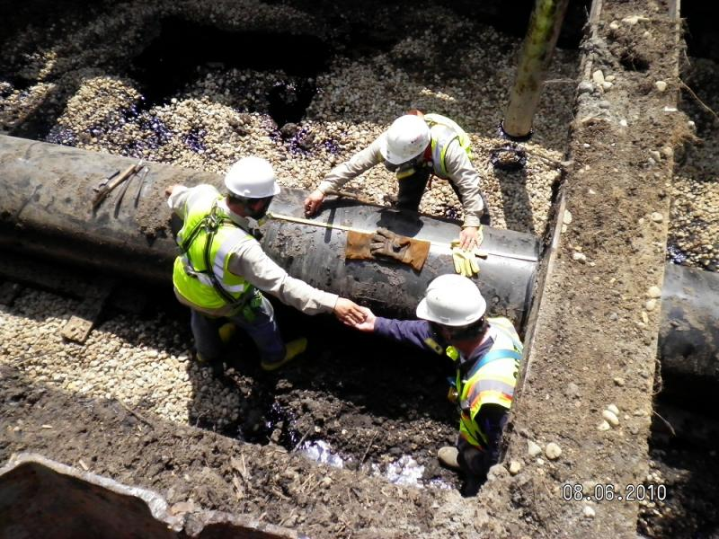 Crew excavate a portion of Line 6B in 2010