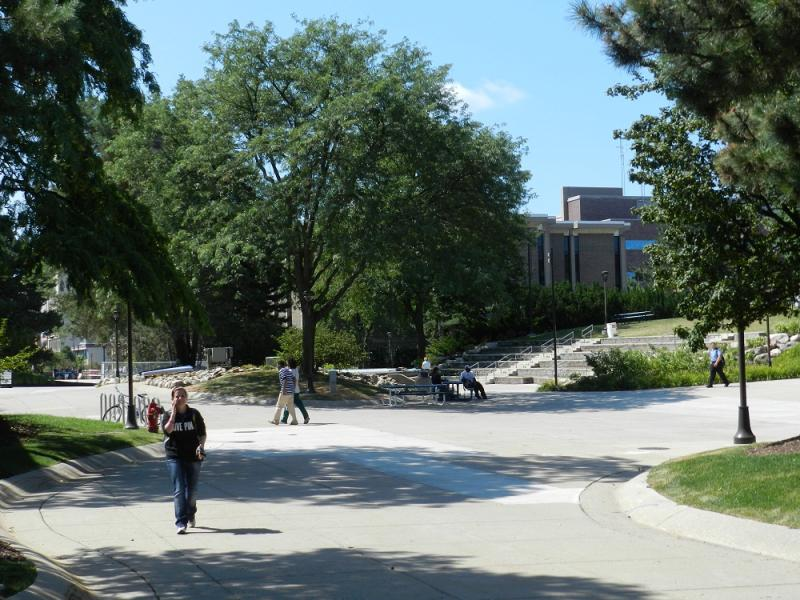 Students walking on the Lansing Community College campus