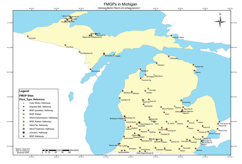 A map showing sites of old gas works around Michigan. To find old manufactured gas plants, look for