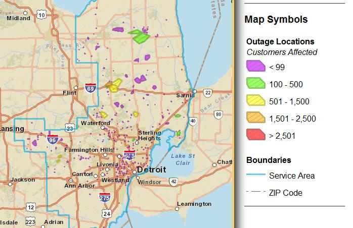 Screen grab of the DTE Outage Map as of 11:45 a.m. This map displays interruptions in electric service lasting more than 5 minutes.