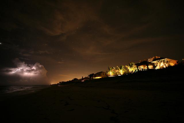 Lightning and light pollution along the Florida coast.