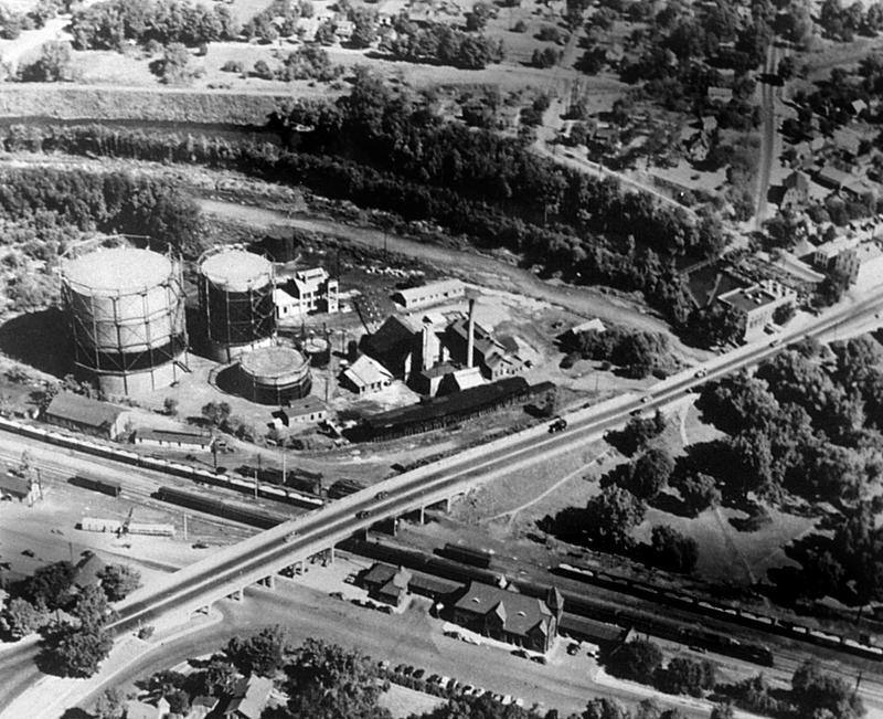 The gas works moved across Depot St. and the train tracks to this location next to the Huron River in Ann Arbor at the turn of the last century.