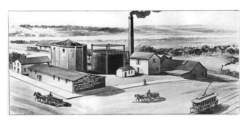 The original gas works plant in Ann Arbor. Part of the foundation of this facility can still be seen today.