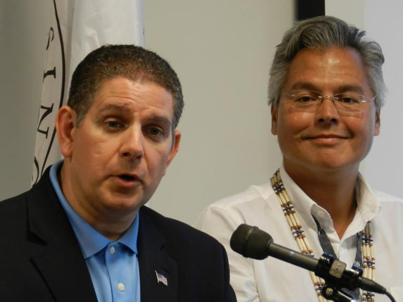 Lansing mayor Virg Bernero (left) discusses an update to a casino project, as Sault Ste Marie Tribal chairman Aaron Payment listens