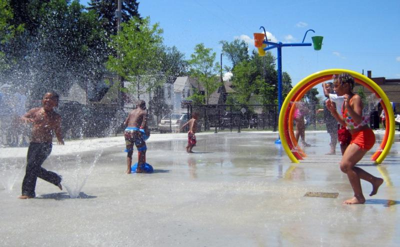 Several splash parks are open in the City of Grand Rapids, and free.