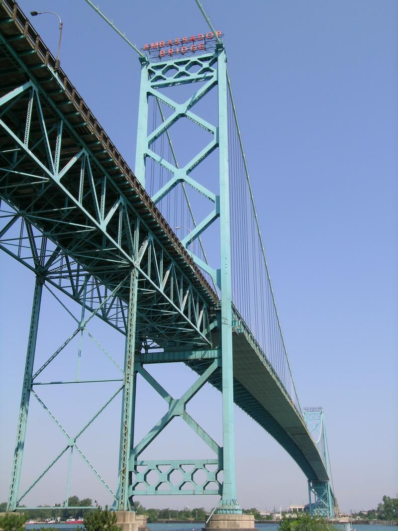 Ambassador Bridge from the Canadian side. The bridge owners have spent millions of dollars to influence the debate on whether a second bridge should be built by Canada and Michigan.