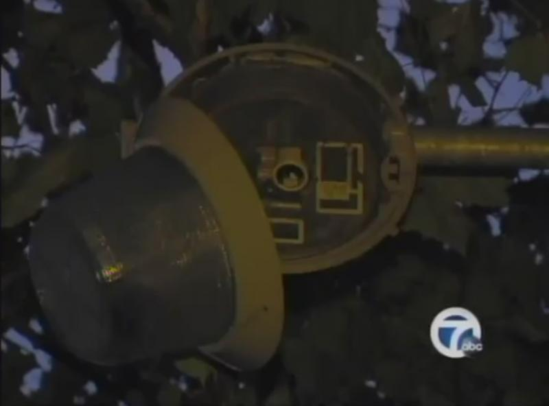 A still of a broken light from WXYZ's video