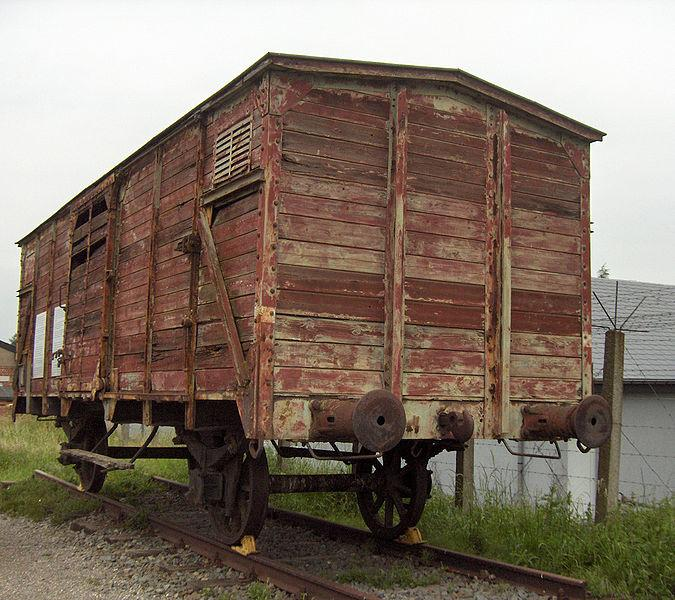 One of the original Nazi boxcars used to transport Jews