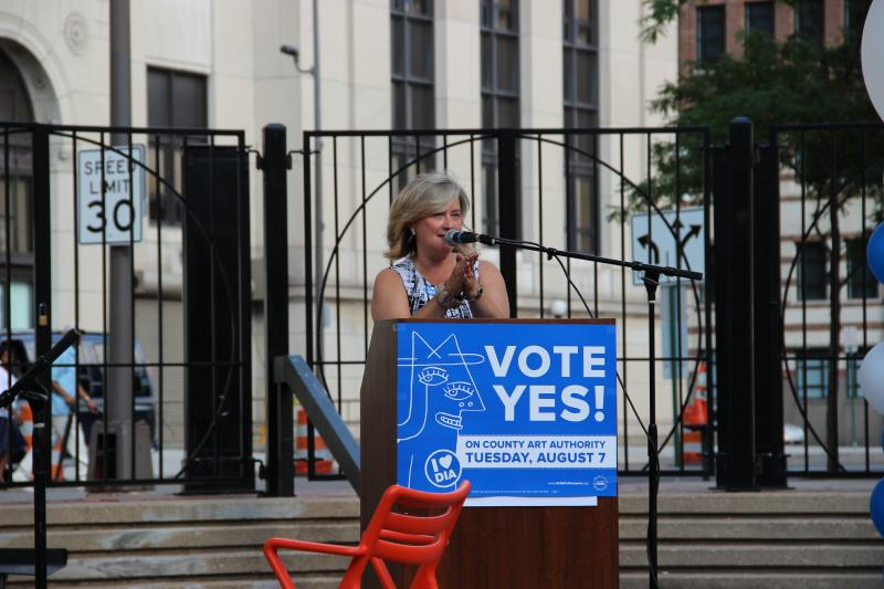 The DIA's Annmarie Erickson at Tuesday's rally