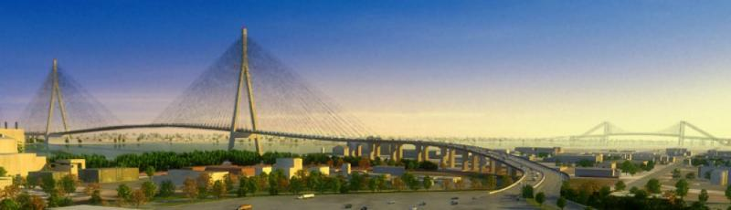 Rendering of proposed New International Trade Crossing which might be blocked by a state constitutional amendment proposed by the Ambassador Bridge owners.
