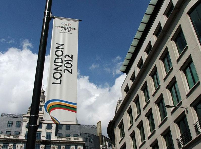 London 2012 banner at The Monument