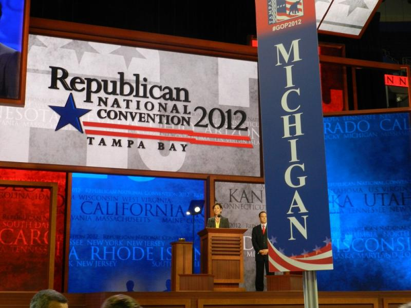 The view of the main podium from where the Michigan delegation is sitting at the Republican National Convention