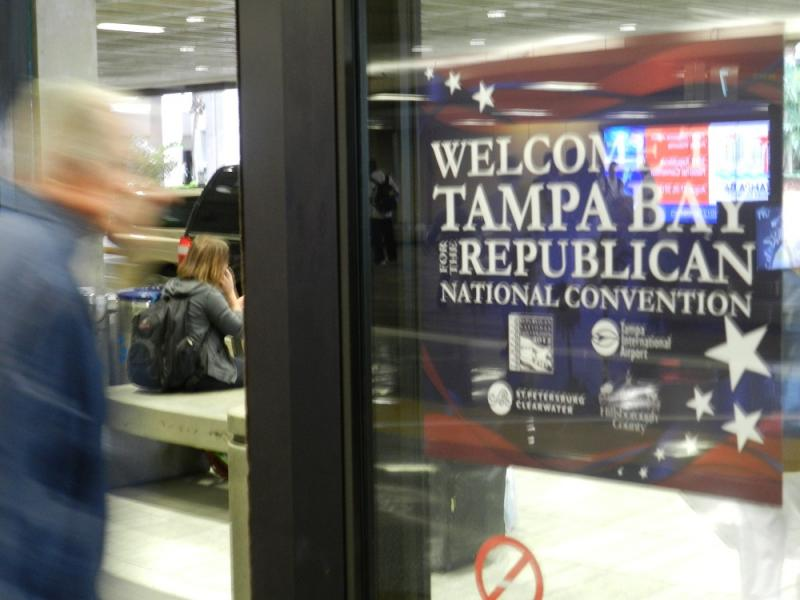 Republicans storm into Tampa, but make way for Tropical Storm Isaac which is expected to intensify today