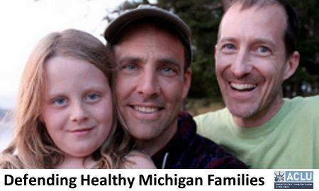 Peter Ways, Joe Breakey and daughter Aliza. The picture is part of a press release from the ACLU