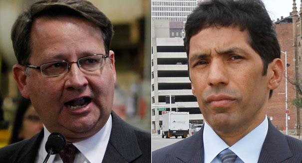 Incumbents Gary Peters, left, and Hansen Clarke faced off in the race for the 14th.