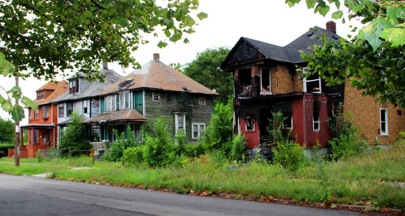 Dilapidated homes in Delray near Detroit.