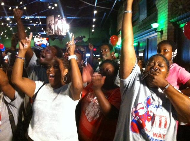 Shields' family and friends celebrate her victory
