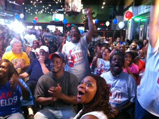 More than a hundred Flint residents celebrate Shields' win