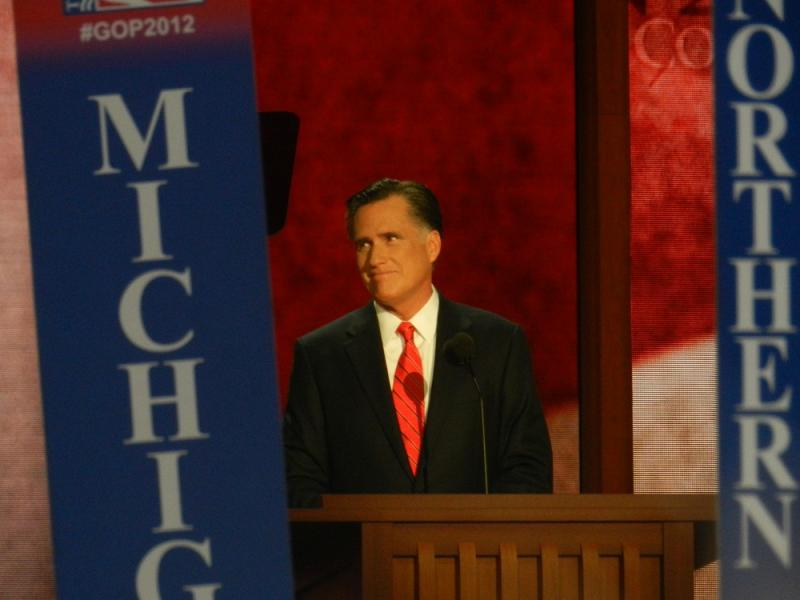 Republican presidential nominee Mitt Romney speaking at the RNC in Tampa, Florida